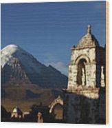 Sajama Volcano And Lagunas Church Belfry Bolivia Wood Print