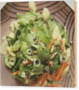 Orange Green Salad For Lunch With Pineapple Dressing Wood Print