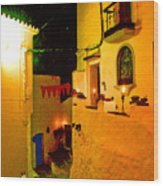 Salares By Night With Cat Wood Print