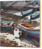 Salcombe Boatyard Wood Print