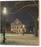 Salem Commons Winter Snow At Christmas Salem Ma Wood Print