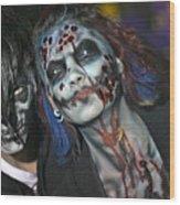 Salem Halloween Makeup Wood Print
