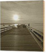 Salem Willows Pier At Sunrise Sepia Wood Print
