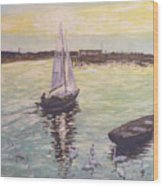 Saling Home At Sunset Wood Print