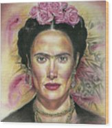 Salma Hayek As Frida Kahlo Wood Print