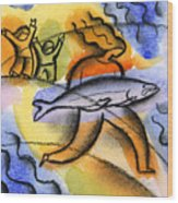 Salmon Fishing Wood Print