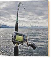 Salmon Fishing Rod Wood Print