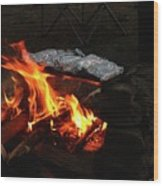 Salmon On The Fire Wood Print