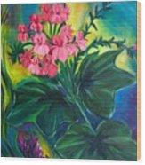 Salmon Pink Geraniums Wood Print