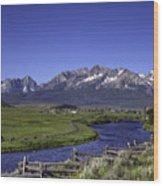 Salmon River And Sawtooth Mountains Wood Print
