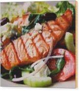 Salmon Salad Wood Print