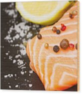 Salmon Steak And Spices Wood Print