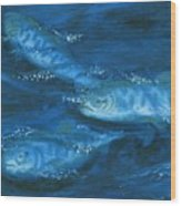 Salmon Swimming Wood Print