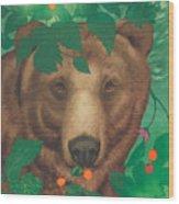 Salmonberry Bear Wood Print