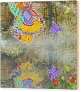 Salmonberry Fairy Merri Goldentree Wood Print