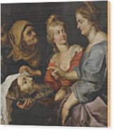 Salome With The Head Of St. John The Baptist Wood Print