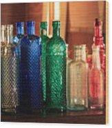 Saloon Bottles Wood Print