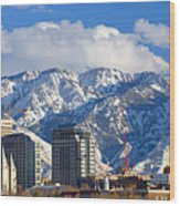 Salt Lake City Skyline Wood Print by Utah Images