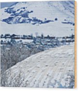 Salt Lake City Tabernacle In Snow Wood Print