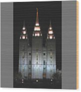 Salt Lake City Temple At Night Wood Print