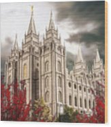 Salt Lake Temple - A Light in the Storm Wood Print