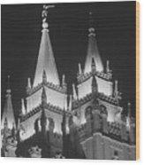 Salt Lake Temple Night Wood Print