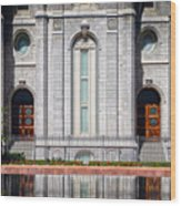 Salt Lake Temple Reflections Wood Print