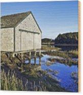 Salt Pond Boathouse  Wood Print