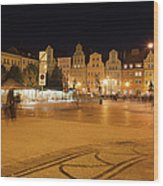 Salt Square In Wroclaw At Night Wood Print