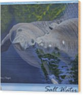 Salt Water Ballet - Manatees - 2 Wood Print