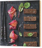 Salted Salmon With Beetroot  Wood Print