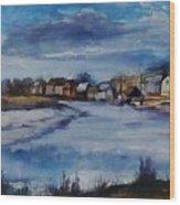 Saltwater Village Riverside Wood Print