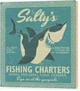 Salty's Fishing Charters Wood Print