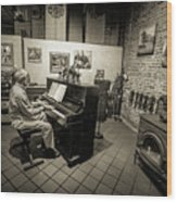 Saluda Piano Man Wood Print