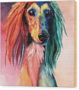 Saluki Sunset Wood Print