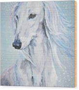 Saluki White Beauty Wood Print