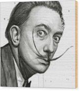 Salvador Dali Portrait Black And White Watercolor Wood Print