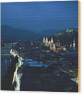 Salzburg, Austria, Night View Wood Print