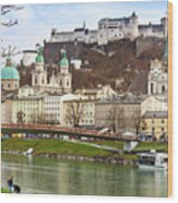 Salzburg City And Fortress  Wood Print