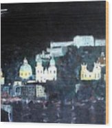 Salzburg In Moonlight Wood Print