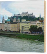Salzburg Over The Danube Wood Print