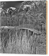 Sam Houston Jones State Park Bridge Bw Wood Print