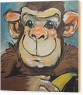 Sam The Monkey Wood Print