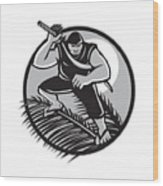 Samoan Ninja On Top Of Coconut Front Circle Wood Print
