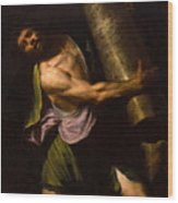 Samson In The Temple Wood Print