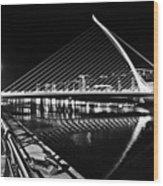 Samuel Beckett Bridge 5 Bw Wood Print
