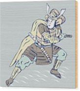 Samurai Warrior Wood Print by Aloysius Patrimonio