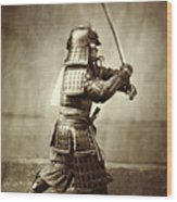 Samurai With Raised Sword Wood Print by F Beato