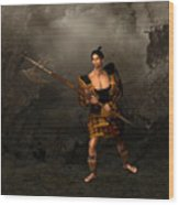 Samural Warrior Wood Print