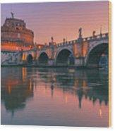 San Angelo Bridge And Castel Sant Angelo Wood Print